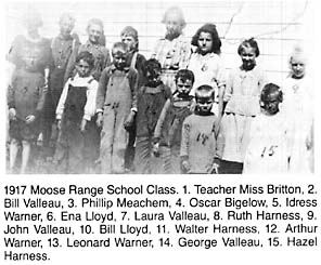 Moose Range School 1917 - from Pioneer Ways To Modern Days page 185